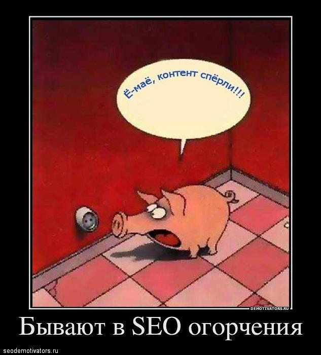 SEO-демотиваторы 2012г выпуск 3 - Если страшное случилось, не впадай в прострацию, есть два определения: есть «Копипаст» — ориентация, а есть «Копираст» — образ мышления!